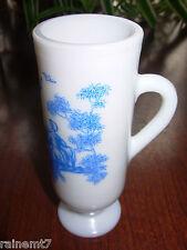 Milk Glass Irish Coffee Mug Blue Victorian Scene