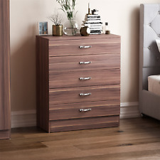 Riano Chest Of Drawers Walnut 5 Drawer Metal Handles Runners Bedroom Furniture