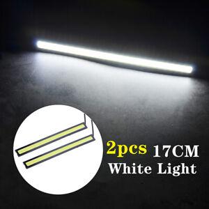 2pcs White 12V LED Strip DRL Daytime Running Lights Fog COB Car Lamp Waterproof