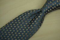 Charvet Baby Blue Midnight Striped Copper Geometric Silk Woven Tie France