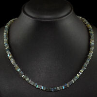 SUPERB 110.00 CTS NATURAL AMAZING BLUE FLASH LABRADORITE UNHEATED BEADS NECKLACE
