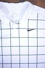 Nike Dri-Fit Performance Polo Shirt White/Gray Windowpane Men's XL