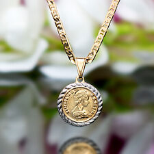 Sevil 18K Gold Plated Flat Mariner Necklace W 2T Coin Charm Pendant