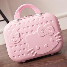"""14"""" Fasion Cute Women Girl handbag Makeup Case Travel Mini Luggage Pink Suitcase"""
