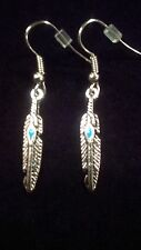 Turquoise Feather Antique Silver Stripe Pattern Dangle Earrings