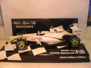 RARE MINICHAMPS 1/43 BRAWN J.BUTTON WINNER MALAYSIAN GP 2009 ONLY 3240 PCS NLA