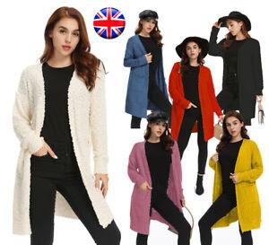 Womens Ladies Chunky Fleece Knit Cardigan Long Sleeves Grandad Plus Sizes