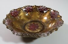 Vintage Red and Gold Flower Design Goofus Glass Bowl w/ Scalloped Rim