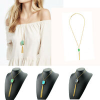 Fashion Natural Stone  Gold Plated Tassel Crystal Charm Pendant Necklace Jewelry