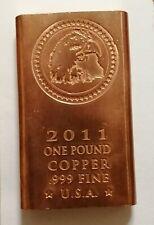 1 lb One Pound Copper Bullion Bar .999 Pure USA Fine - Free Postage