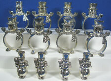 International Silver Lot Of 8 Silverplated Snowmen Holiday Napkin Rings Holders