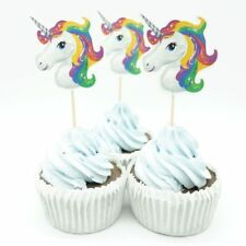 UNICORN CUPCAKE CAKE TOPPERS x10 BIRTHDAY PARTY PACK LOLLY LOOT FANTASY HORSE