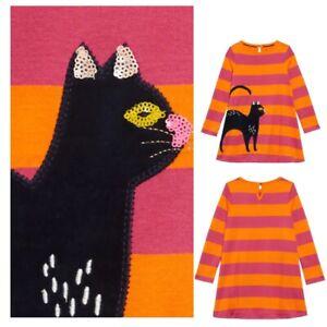 Mini Boden Girls' Halloween Cat Appliqué Stripe Dress Now £13.99