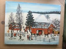 """Charming folk - primitive 12"""" X 16"""" winter oil on stretched canvas by J. Kanbe"""