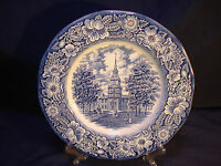 Staffordshire Liberty Blue Independence Hall Historical Colonial 1 Dinner Plate
