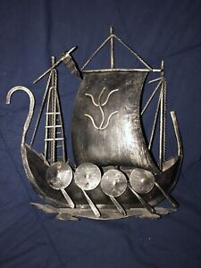 "Metal Norse Viking Ship Boat 9 1/2"" Long X 10"" High"