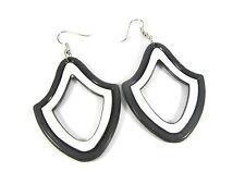 Drop Dangle Large Black & White Hoop Shape Retro Hoop 70's 80's Earrings
