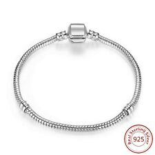 Sterling Silver Snap Clasp Snake Charm Bracelet with threading system for clips