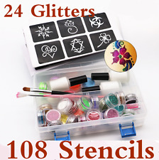 Temporary Glitter Tattoo Kit Princess 108 Stencils 24 Glitters Glue Brushes Set