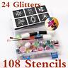 Temporary Glitter Tattoo Kit Princess 108 Stencils 24 Glitters Glue Brushes Set