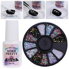 Colorful Round 3D Decoration in Wheel 7g Nail Glue Fast-dry Manicure Tool Kit