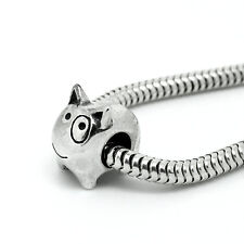 BULL TERRIER- Dog Puppy-Eye patch- Solid 925 sterling silver European charm bead
