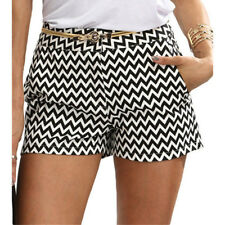 Women's Casual Summer Shorts Black and White Mid Waist Buttons Fly Pocket S