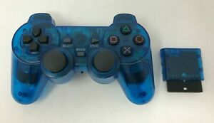 Transparent Blue Clear Wireless Rumble Controller for Sony PlayStation 2 PS2