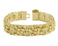 18K Gold Plated Nugget Bracelet 15 Mm Wide - Made In USA - LIFETIME WARRANTY