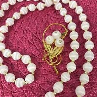 Vintage Hand Spun Bead Necklace Brooch Set White Satin Gold Tone Pin Filagree