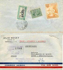 2174 - Guatemala - Raccomandata via aerea per Busto Arsizio (Varese), 29/11/1954