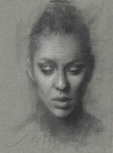 MAGDALENA Female Portrait Study Original Charcoal Drawing Contemporary Realism