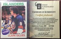 *SIGNED* 1975-76 TOPPS #199 CLARK GILLIES (RC)~GAI CERTIFIED AUTHENTIC AUTO *EX*