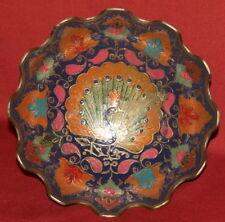 Vintage Asian Solid Brass Cloisonne Enamel Peacock Floral Relief Bowl