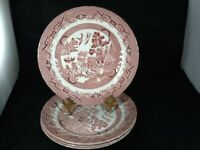 """SET OF 4 Wessex Collection China Pink or Rosa Willow Dinner Plates 10 3/8"""" NEW"""