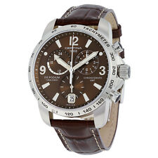 certina ds podium gmt brown dial brown leather herren quarzuhr c0016391629700