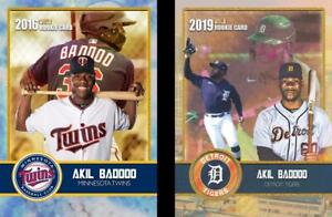 AKIL BADDOO 2016-2019 VERY FIRST EVER PRINTED GOLD ROOKIE CARDS TWINS & TIGERS!