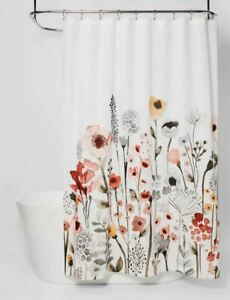 """NEW Threshold Floral Wave Watercolor Flower Fabric Shower Curtain 72"""" x 72"""""""
