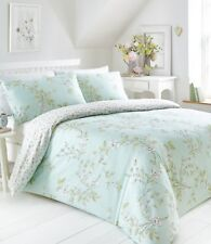 DOUBLE BED DUVET COVER SET YASMINA FLORAL DUCK EGG PINK GREEN REVERSIBLE