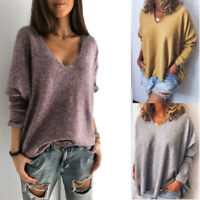 Loose Sleeve Women Long Solid Sweater Knitted V Cashmere Pullover Neck