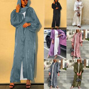 UK Womens Long Puff Sleeve Muslim Dubai Open Kimono Abaya Jilbab Maxi Dress Robe