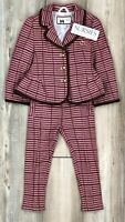 JANIE AND JACK GIRLS PANT & BLAZER OUTFIT Brown & Plum Houndstooth 2T