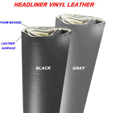 Black/Gray Headliner Vinyl Fabric Upholstery Replace Leather Surface Foam Backed