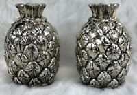 1960's Pineapple Salt And Pepper Silver Metal Made In Japan Vintage Delli Inc.