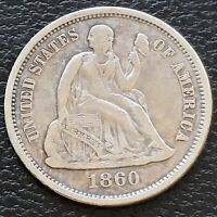 1860 Seated Liberty Dime 5c High Grade XF #31182