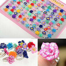 CH Wholesale Lots 30pcs Colorful Rose Flower polymer clay Children Rings Gift