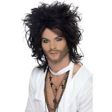 Mens Sex God Wig Fancy Dress Costume Russell Black Messy Long Brand Rocker Stag