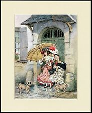 PUG AND PRETTY LADIES IN THE RAIN LOVELY DOG PRINT MOUNTED READY TO FRAME