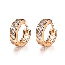18k Yellow Gold GF Huggies Made With Swarovski Crystal Filigree Earrings Cute