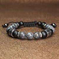 Bracelet Homme Style Shamballa Tibétain perles Pierre naturelle Gemme Agate Inox